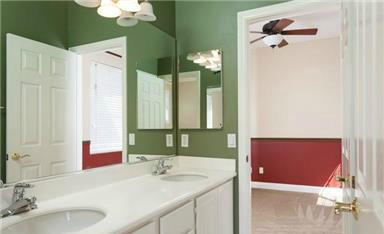 2 Laurelhurst Dr The Jack and Jill has dual vanities and a shower/tub combination