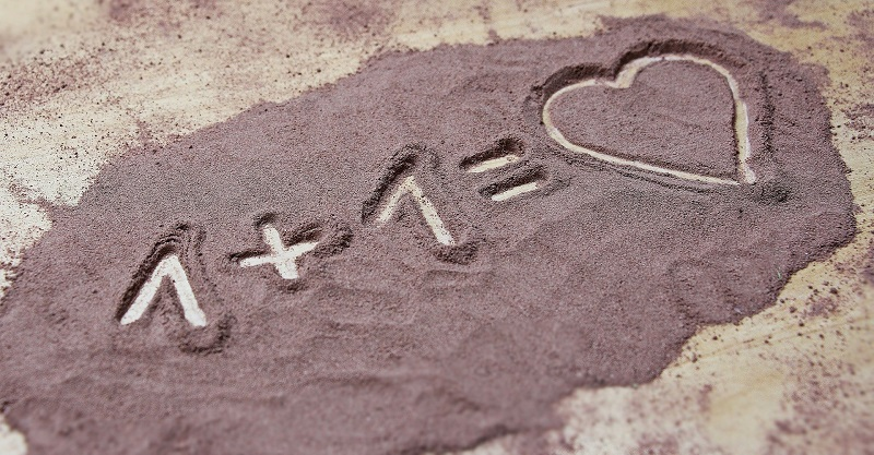 Valentine's Day at Home Dinner Ideas One Plus One Written in Purple Sand