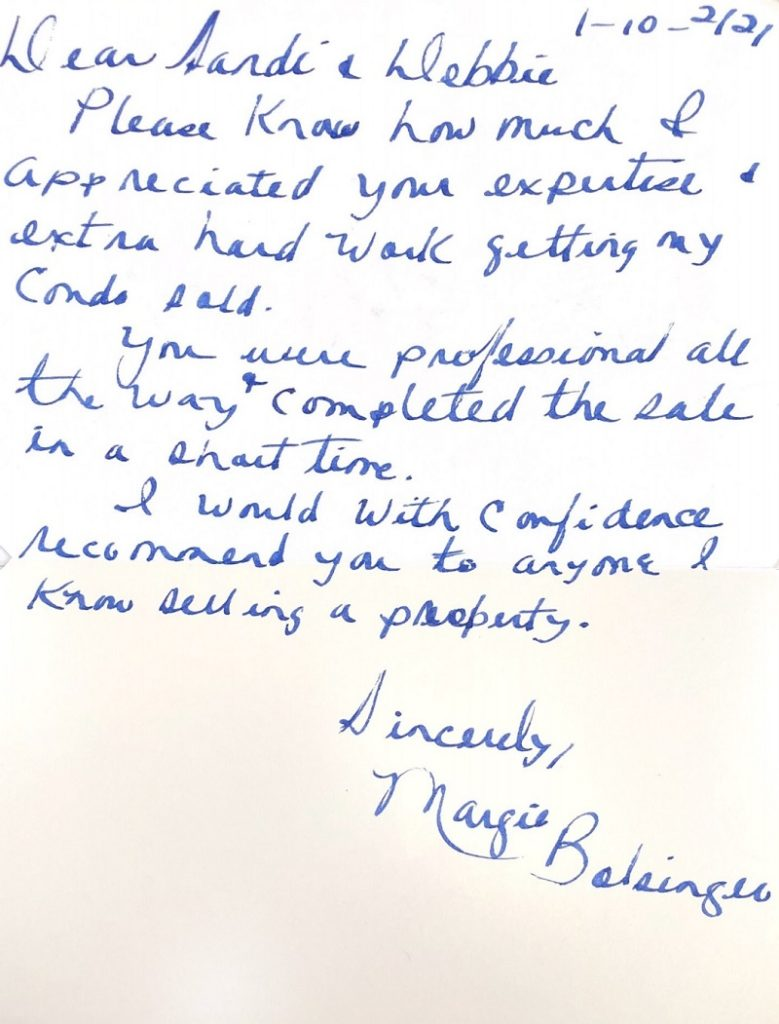 Review of Sandi and Debbie Homes Scanned Copy of a Handwritten Review